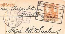 Germany WWI Belgium Ovpt Postal Germania Censor Violet & Black Gent 1917 Card 7v