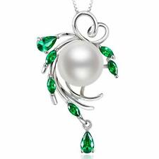 Fashion 925 Silver Necklace Pendant Women White Pearl Wedding Jewlery Gift