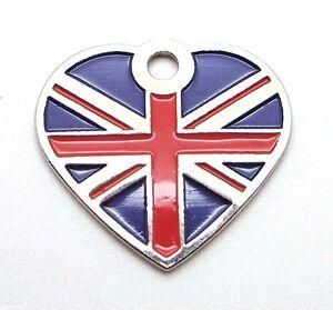 ~ Union Jack Flag Small Heart pet id tags