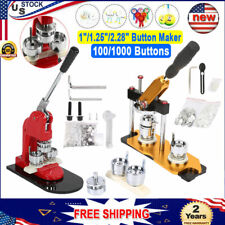 "1""/1.25""/2.28&# 034; Rotated Button Maker Badge Punch Press Machine + 100/1000 Buttons"