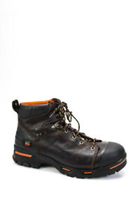 Timberland Mens Steel Toe Lace Up Anti Slip Work Boots Brown Size 8