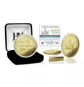 Limited Super Bowl 55 Tampa Bay Buccaneers Vs Kansas City Chiefs Gold Flip Coin