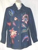 Indigo Moon shirt sz S 100% Cotton Denim Applique Embroidery