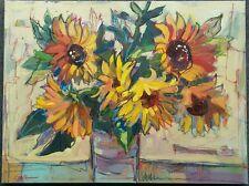 Sunflower  Bouquet, Floral & Gardens,  original art, 18x24, artist, mixed media