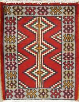 Square Rug Malayer Hamadan Wool Hand-Knotted Geometric Oriental Area Rug RED 2x2