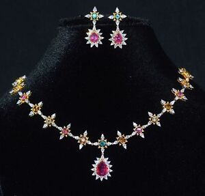 CERTIFIED NATURAL 18.6CTS VS F DIAMOND TOURMALINE 18K GOLD NECKLACE EARRINGS SET