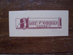 Exlibris Bookplat von Lorentz May - 1969 (für Poul A. Andersen)