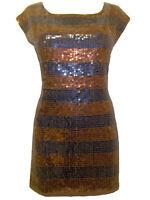 NEW FCUK BROWN/NAVY BLUE STRIPE SEQUIN TUNIC DRESS Size S, M, L, XL