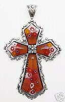 Murano Glass Vintage-Look Cross - Large - 20 in. chain