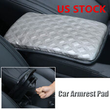 Universal Car SUV Armrest Pad Cover Auto Center Console PU Leather Cushion Grey