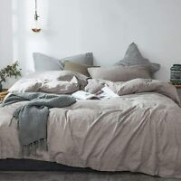 Queen Washed Linen Cotton Blend Duvet Cover Natural Comfortable Breathable 3 set