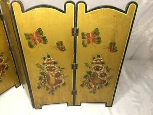 Vtg Wood 4 Panel Room Divider Tabletop Screen Gold Painted w/ Butterfly & Flower