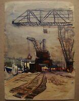 Russian Ukrainian Soviet Watercolor realism industrial painting cargo port crane