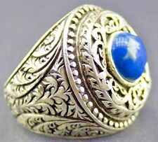 Turkish Handmade Jewelry 925 Sterling Silver Natural Turquoise Stone Men's Ring