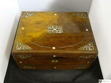 Antique Rosewood Writing Box, Inlaid Mother-Of-Pearl Foliate Spandrels, C. 1840