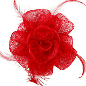MEIZ Sinamay Flower Fascinator Decorated With Feathers On Brooch Pin And Clip