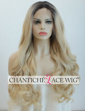 """Dark Roots Ombre Blonde Long Wavy Synthetic Hair Lace Front Wigs For Women 22"""""""