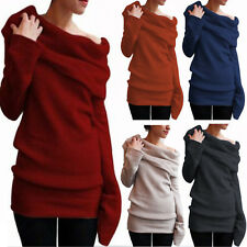 Women Cowl Neck Sweater Sweatshirt Long Sleeve Casual Jumper Pullover Top Blouse