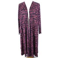 Lularoe Sarah Cardigan XL Navy Blue Pink Floral Long Sleeve Open Front Duster