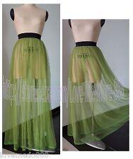 Sexy Club Party Beach Sun Mesh See Through Maxi Long Green Dress Skirt Fit S - M
