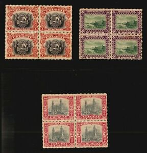 URUGUAY 1895 #124 126 128 block of4 MH $400 lighthouse cathedral ship fortress