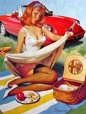 Vintage Alpha Romeo pin up girl metal sign classic car garage decor