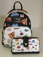 Nwt Loungefly Disney Mickey Mouse & Friends Clothes Mini Backpack & Wallet