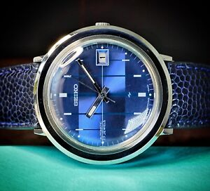 Vintage ~SERVICED~ April 1974 {NOS} SEIKO 7005-8190 STUNNING BLUE DIAL From USA