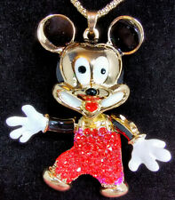 Betsey Johnson Mickey Mouse Pendant Red Rhinestone Necklace Enamel Moveable NEW