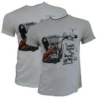 T-shirt Maglia Maniche Corte MERC London 100% Cotone Uomo Men Bianco White Grigi