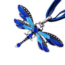 Retro Style Silver Dragonfly Crystal Sweater Chain Women Ladies Pendant Necklace