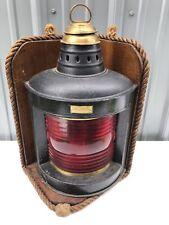 Vintage Perkins Perko Marine Ship Red Lamp 17� Tall w/ Wood Display