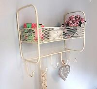 SHABBY CHIC WIRE WALL SHELF UNIT HOOK COAT RACK BASKET STORAGE METAL VINTAGE