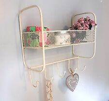 FRENCH VINTAGE WIRE WALL SHELF UNIT HOOK COAT RACK BASKET STORAGE METAL CREAM