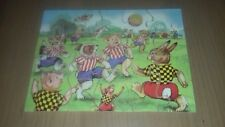 Vintage jigsaw puzzle. 20 thick wooden pieces. Animals playing football.