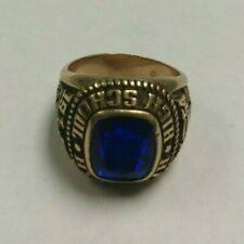 VINTAGE 1970 10K GOLD HIALEAH HIGH SCHOOL (1954) RING SIZE 6.5 16.5g BLUE STONE