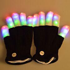 New Fashion Cool LED Flashing Glove Glow 7 Mode Light Up Finger Lighting Black
