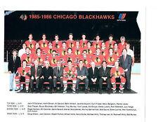 1985 CHICAGO BLACK HAWKS 8X10 TEAM PHOTO HOCKEY NHL HOF