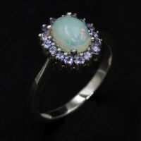 EARTH MINED 8X6MM OPAL & TANZANITE NATURAL RARE STERLING SILVER 925 RING SIZE 9