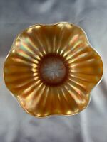 "DUGAN PEACH OPALESCENT CARNIVAL GLASS STIPPLED FLOWER 7.75"" BOWL"