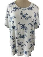 Croft Barrow classic tee T knit top Size 1X short sleeve blue white floral