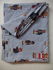 Ralph Lauren Polo Teddy Bear Twin Flat Sheet Blue & White Stripe Vintage 1405