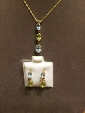NWT Peridot and Blue Topaz 10k Gold Pendant Necklace  and Earrings