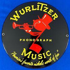 VINTAGE WURLITZER JOHNNY ONE NOTE ROUND 10 INCH DIAMETER MUSIC SIGN