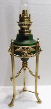 Exceptional Lamp Oil Empire 19th Century Bronze Paste Glass Green