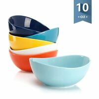 Porcelain Bowls - 10 Ounce for Ice Cream Dessert, Small Side Dishes - Set of 6