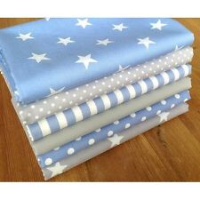 Blender fabric GREY & PASTEL BLUE Cotton Fat Quarter Bundle SPOTS STARS STRIPES