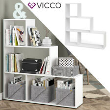 VICCO Treppenregal ASYM Weiß 4 Fächer Raumteiler Regal Bücherregal Standregal