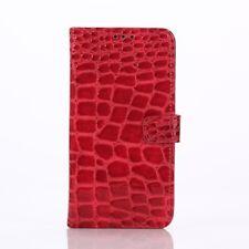 Samsung Galaxy S6 Edge G925 Handy Tasche Wallet Case Crocodile Cover Rot
