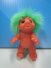 "1985 STANDING BABY - 3"" Dam Norfin Troll Doll - GREEN HAIR - Marked Dam"